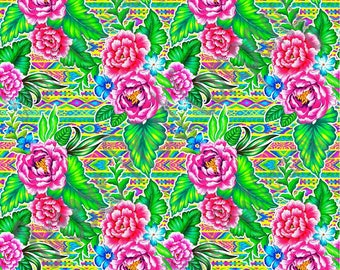 Ikat aztec flower craft vinyl sheet - HTV or Adhesive Vinyl -  tropical floral pattern vinyl inspired tribal beach pattern HTV2254