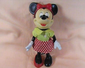 Vintage 1960's Minnie Mouse, Walt Disney Productions, Walt Disney Collectible, Disney Doll, Made in Hong Kong