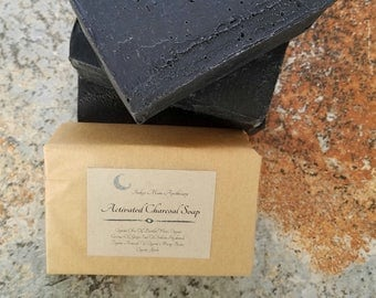 Activated Charcoal Soap, Natural Vegan Soap, Detox Soap, Unscented Soap, Facial Soap, Acne Soap, Clarifying Soap Bar, Bamboo Charcoal Soap