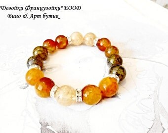 Agate Rutilated Quartz Healing Stone Bracelet Beaded Gemstone Yoga Meditation Orange Green Chakra Bohemian Jewelry Universal Crystal Gems