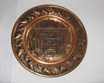 Vintage metal Coppercraft guild decorative wall plate Taunton Massachusetts