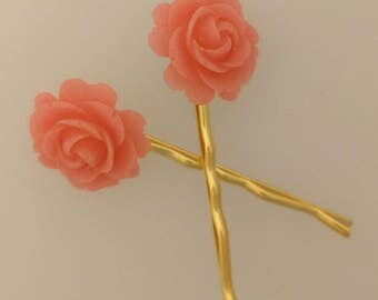 Pink Rose Hair Pins - Pair of Bobby Pins in your choice of Silver or Gold