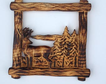 """Burnt Pine Framed Deer in Forest Wood Carving Wall Hanging - Wood Wall Art Deer - Rustic Cabin Decor - 10"""" x 10"""" 1"""" Burned Pine Finish Decor"""