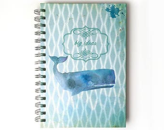 Whale Medium Notebook, Whale Journal, Whale Spiral Notebook, Whale Illustration, Whale Print, Big Ideas