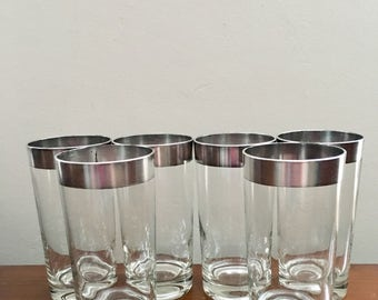 Silver Metallic Rimmed Glasses by Dorothy Thorpe set of 6