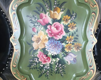 Large Vintage Handpainted Tole Tray decorative tray