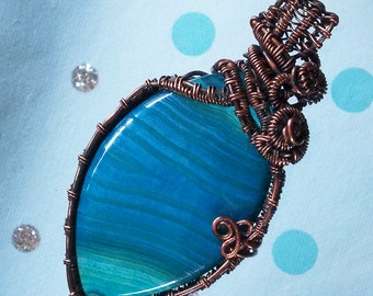 Blue Agate Handmade Wire Wrapped Pendant