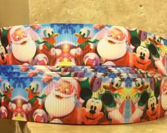 5 YDS Mickey, Donald and Santa Holiday Ribbon
