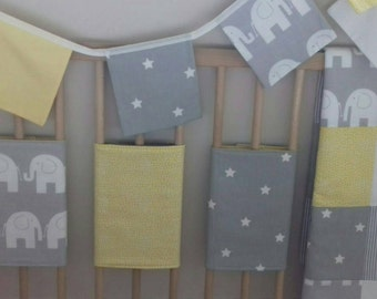 Elephant cot bumper pads set of 6 individual cot bar bumper pads crib bumper elephant bumper grey and yellow nursery