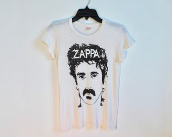 On Sale~70s/80s Very Rare Frank Zappa Thin T~Shirt~Super Thin~Healthknit~Size Adult Small~ See Dimensions Below