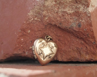 Heart Locket Charm Gold Filled Edwardian Early 1900's
