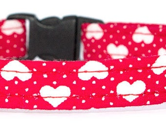 Noddy & Sweets Adjustable Cat Collar with bell and charm [Love Hearts-Red]