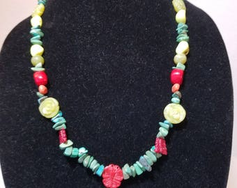 FREE  SHIPPING  Turquoise Coral Jade Necklace