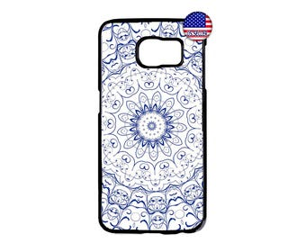 Mandala Blue Henna Style design Hard Rubber TPU Case Cover For Samsung Galaxy S8 S7 S6 Edge Plus S5 S4 S3 NOTE 5 4 3 2 iPod Touch 4 5 6