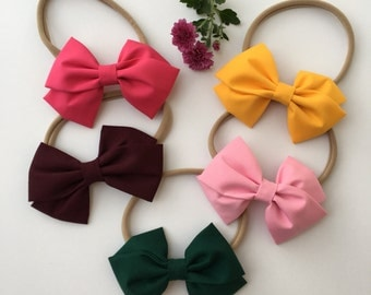 Handmade ! Adorable Infant, Baby Girl, Toddler, Classic Bow Nylon Headbands !!