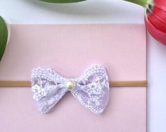Handmade! Newborn, baby Girl, Toddler , Mini White Lace Bow Nylon Headband