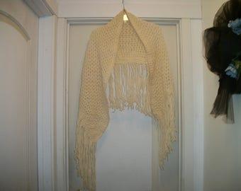 Vintage IRISH CREAMY Hand Crocheted Wool SHAWL, w Long Long Fringe