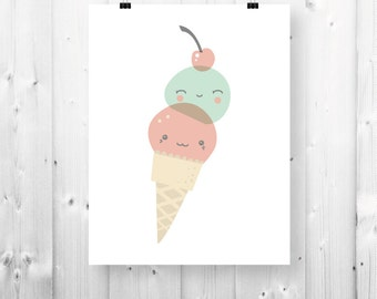 Smiling ice cream print - 8 1/2'' x 11 '' - PDF Download