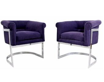 Mid Century Modern Pair of Milo Baughman Chrome Cantilever Barrel Chairs