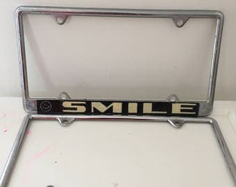 Vintage Pair of License Plate Frames SMILE Happy Face