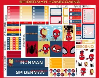 Spiderman Homecoming || Planner Sticker Kit for Erin Condren Vertical Life Planner