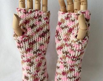 Coconut Ice Fingerless Gloves