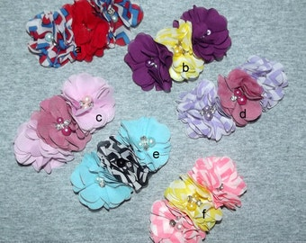 """Puppy Bows ~Big Girl chiffon flowers attached to 3"""" french barrette pink blue purple red ~Usa seller"""