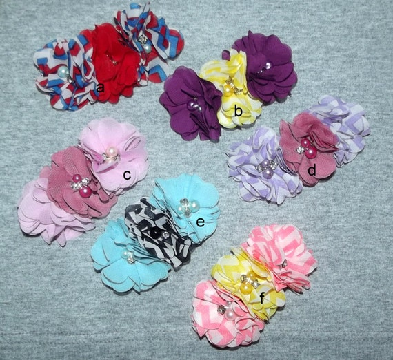 "Puppy Bows ~Big Girl chiffon flowers attached to 3"" french barrette pink blue purple red ~Usa seller"