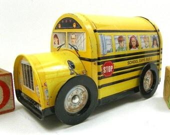 Vintage Yellow School Bus Tin with Rolling Tin Wheels