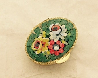 Vintage ITALY Micro Mosaic Floral Design Gold Tone Pill Box Trinket Box