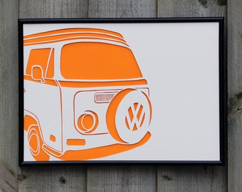 VW Campervan Paper Cut (Other Colours Available)