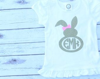 Easter Bunny Shirt; Girls Easter Shirt; Girls Monogram Easter Bunny Shirt; Cute Vinyl Easter Shirt
