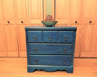 Royal Blue Dresser / Vintage Painted Dresser / Small Painted Dresser / Royal Blue Nightstand / Painted Nightstand / Painted Furniture