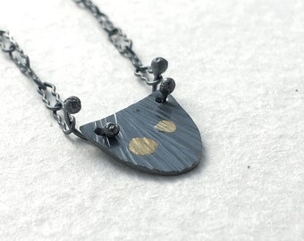 Tiny Sessile Necklace in Recycled Sterling Silver & 18k Gold