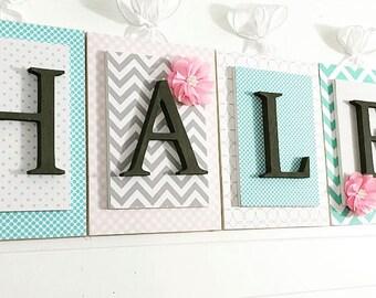 Wooden Letters for Nursery, Girls Nursery Decor, Letters for Nursery Girl, Nursery Name Sign, Pink Aqua Gray Nursery, Nursery Wall Art