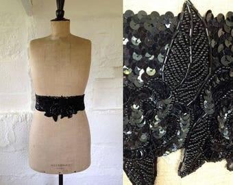 1980s 'Frank Usher' Black Sequin Belt with Jewelled Roses / 80s Cinch Belt / Vintage Sequin Belt / SIZE UK M-L