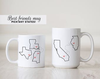Best Friends Coffee Mug | Long Distance Love | State to Sate Mug | Long Distance Friendship | Besties Mug | Heart in Two Places | Custom Mug