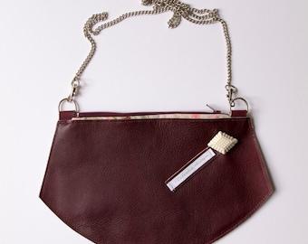Crossbody EVE plum leather - small shoulderbag - handbag -  by Clafoutisdesign