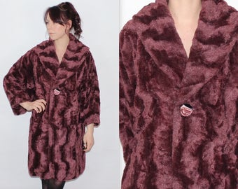 Vintage 1980's Purple FAUX FUR Oversized Batwing 3/4 Sleeves WINTER Coat Size Small Medium