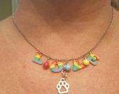 Rainbow love paw print charm necklace. Festival pride dog lovers chain. Woodstock inspired hippie boho necklace, Rainbow Bridge pet memorial