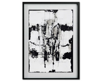 Large Fine Art Print, Black and White Reproduction of Original Ink Drawing, Contemporary Art