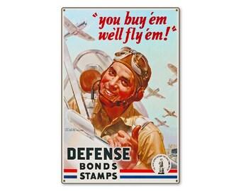 "Defense Bonds Stamps Pilot WW2 Large Metal Wall Decor Vintage World War 2 WWII Propaganda Poster Art 24x36"" STEEL Sign [not tin ]"
