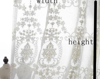 SALE, Cream-White Fabric Window curtains fabric, embroidered lace curtains fabric