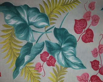 Vintage 1950's Tropical Barkcloth Drapery Panel - 1950's Tropics Foliage Fabric - 50's Barkcloth Drapery Panel - Jungle Leaves Barkcloth