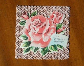 BEST Vintage 1950's Unused Happy Birthday Card - 1950's Flowers Happy Birthday Card - Vintage Pink Roses Card Ephemera - Shabby Chic Decor