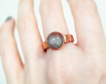 SALE Copper Electroplated Moss Agate Ring, size 7 ring
