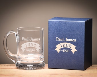Personalised Beer Tankard Stein Birthday Gift, Complete with Gift Box, Handmade Tankard.