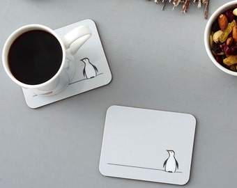 Penguin Coasters, Set of Two, Gift for Penguin Lovers, Penguin Gifts