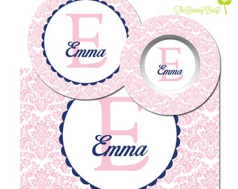 Damask Plate, Bowl or Placemat - Personalized Plate - Monogrammed Dinnerware for Girls - Custom Name Tableware