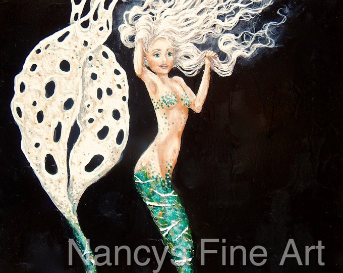 Green mermaid painting by California artist, Nancy Quiaoit. Gicilee prints are available on fine art paper and stretched canvas. Anteia.